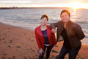 Enjoying the sunset at English Bay