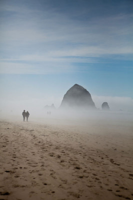 Cannon Beach, Oregon, in a foggy morning