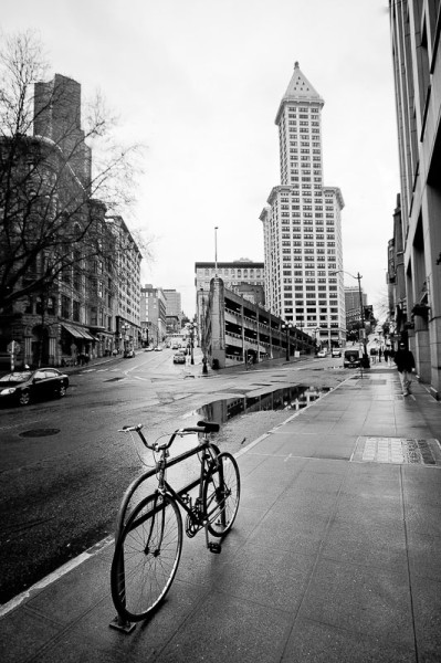 Black and white print of a bicycle in Pioneer Square, downtown Vancouver