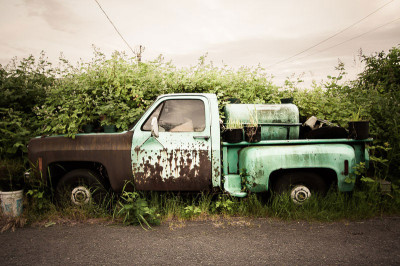 Abandoned green truck