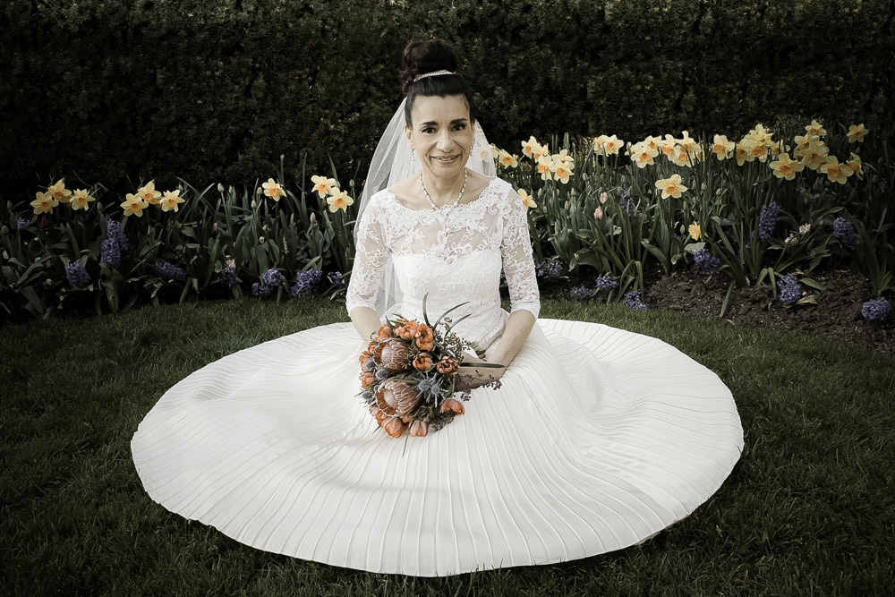 Bride Sharon wearing her mom's dress
